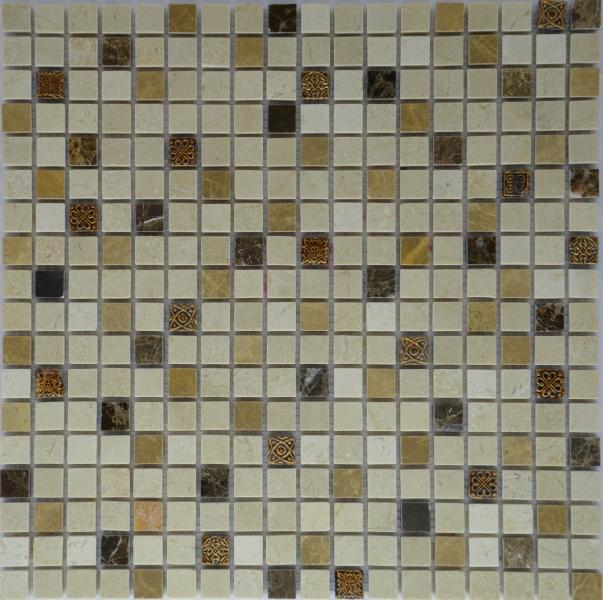 Мозаика M007P/Light Emperador/ Dark Emperador/ Cream marfil/ Resin