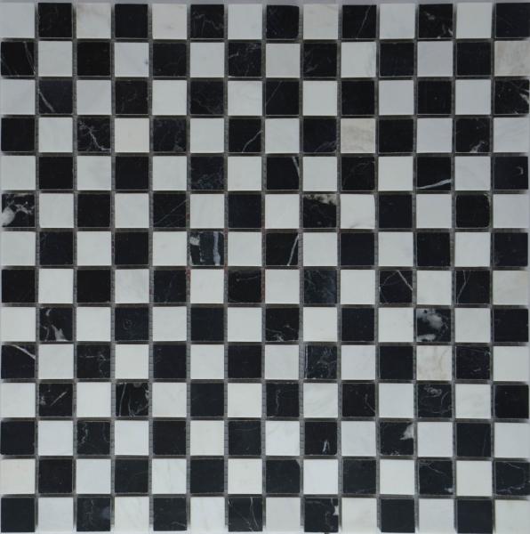 Мозаика M022P/Ajax white/ Black marquina